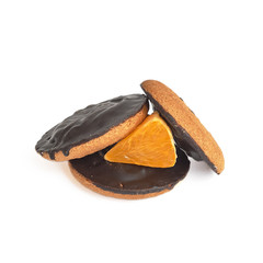 Traditional Jaffa cakes with fresh orange