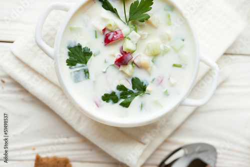Russian traditional Okroshka, summer soup