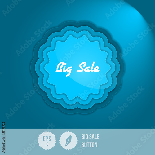 Big Sale Button - Vector Illustration - Layered Design - Star Li