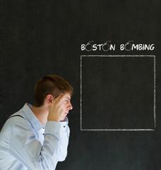Sad or angry businessman, teacher or student Boston Bombing