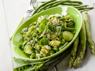 risotto with asparagus zucchinis and green beans,vegetarian food