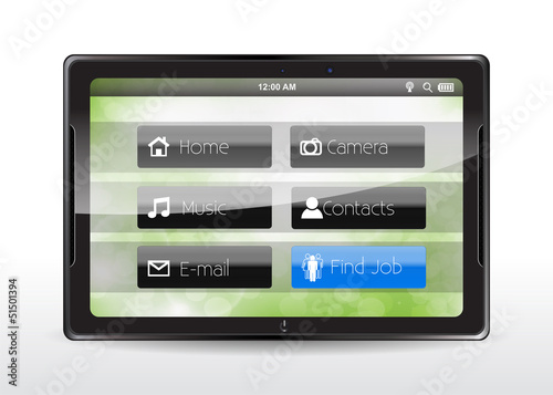 "Tablet concept with a ""Find Job"" button"