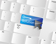 Computer keyboard - blue key Solution, close-up