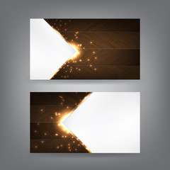 Wood and sparks theme business card template