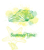 seashell summer green background
