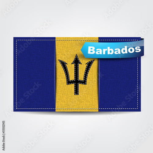 Fabric texture of the flag of Barbados