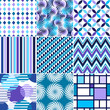 Retro backgrounds set, blue and violet seamless patterns