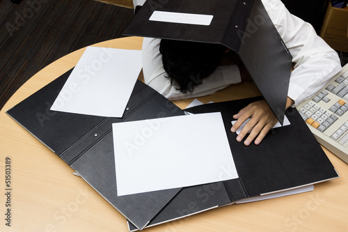 Businessman sleep during working