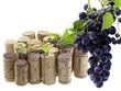bouchons de liège, vigne, grappe de raisin