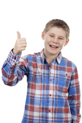 cute boy with thumb up
