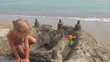 Child Playing on Beach, Little Girl in a Sand Castle, Children