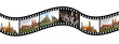 Film strip with  pictures of  tourist attraction in  Thailand