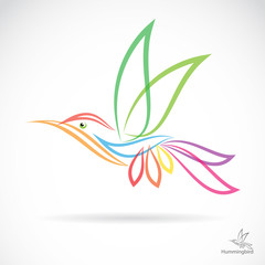 Isolated abstract hummingbird in white background