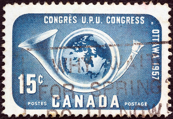 Globe within posthorn (Canada 1957)