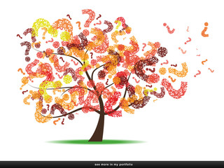Tree with a question mark leaf, red-orange-yellow