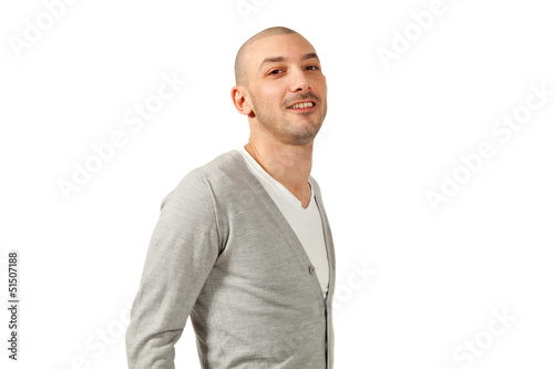 portrait of  young man in studio, isolated on white background
