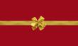 paquet cadeau emballage rouge et rubans dorés