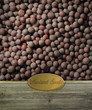Mustard seeds labeled