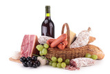 Fototapety wicker basket with sausages, ham and wine