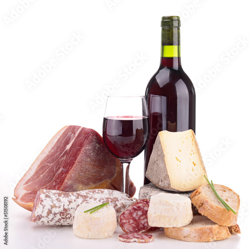 meat,cheese and wine isolated