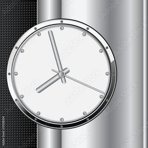Clock on metallic background