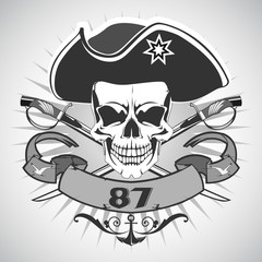 Skull pirate. Vector.