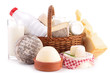 wicker basket with dairy product