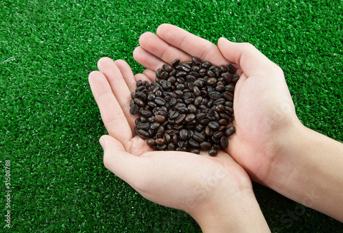 Hands with coffee beans on green background