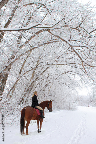 Girl goes horseback in snowfall