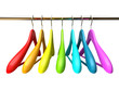 Colored wood hangers isolated on the white background