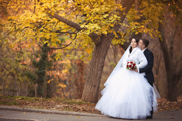 Beautiful bride and groom at wedding day
