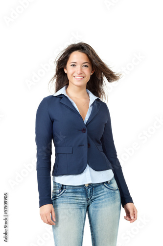 portrait of happy girl, isolated on white background