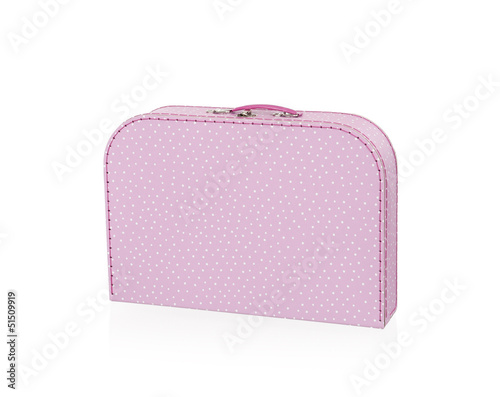 pink with white dots suitcase, isolated on white