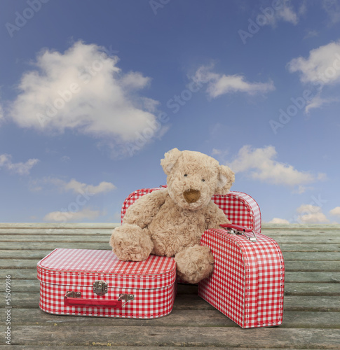 teddy bear and vintage suitcases