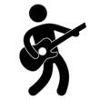 Piktogramm Gitarre Gitarrist Vektor Icon Button