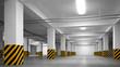 Empty underground parking abstract interior perspective