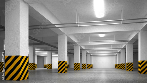 Empty underground parking abstract interior perspective