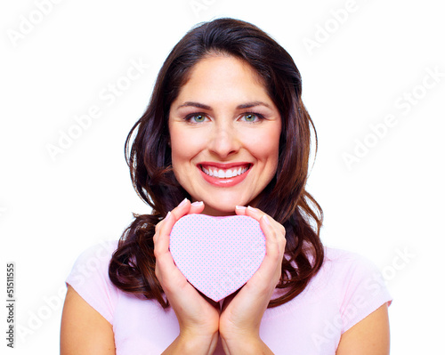 Beautiful woman with a heart box.