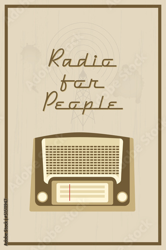 Retro vector poster with vintage radio receiver