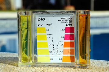 Pool chemical testing kit © Arena Photo UK