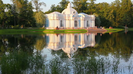 pavilion on lake, Pushkin park St. Petersburg Russia - timelapse
