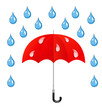 Umbrella and rain drops