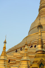 Monks climbing Shwedagon pagoda