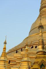 Monks climbing Shwedagon pagoda