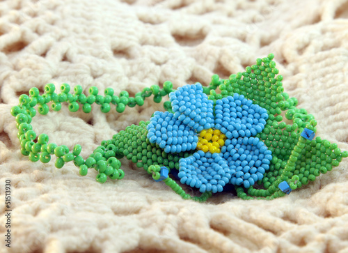 blue bead pendant flower