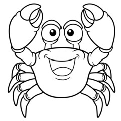 Vector illustration of Cartoon crab - Coloring book