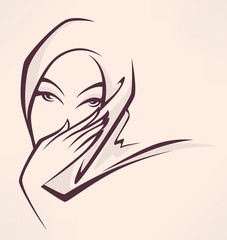 arabian beauty, vector image of beautiful woman face