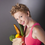 attractive young woman vegetarian