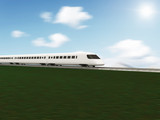3d Illustration of Modern High-Speed Train with Motion Blur