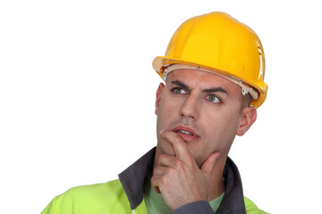 Portrait of pensive worker